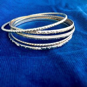 💐 Silver and Gold Patterned Bangle Bracelets, 9